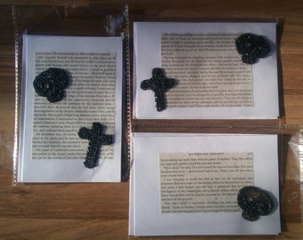 Gothic Wuthering Heights Greeting Card - skulls, crosses & tombstones