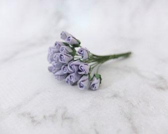 25 5mm lavender paper rose buds