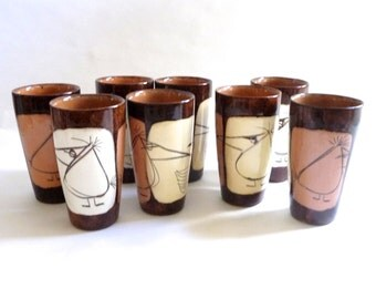Rare Mid Century Edmund Ronaky Ceramic Tumblers  Set of 8 Worry Birds  Modernist 1950s California Modern