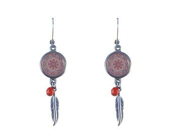 Mandala print and feather earrings