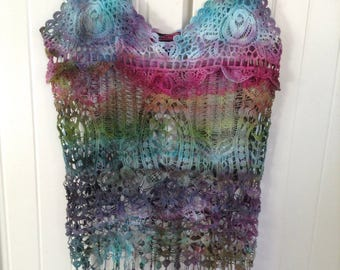 Size Small Tie Dye Lace Top Festival Shirt Tie Dye Shirt S Boho Top Upcycled Tank Top Crochet Shirt