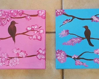 Baby Art-Room decor-Bird on a cherry tree painting-Pink blue canvas painting- Wall Hanging- Bird room decor-Baby girl room-Modern baby decor