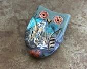 Forest Folk Owl Bead - Teal 4