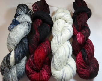 Hand Painted 2-Ply Superwash Merino and Nylon Sock/Fingering -- Game of Thrones -- Ghost (The White Skein)