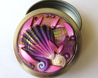 Mermaid Treasure Twist Top Tin Seashell Sewing Needle Case Round Notions Box Polymer Clay Covered Jewelry or Accessory Tin