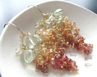 Valentines Day Sale - Custom Made to Order - Grenn Amethyst, Imerial Topaz, and Rose Tourmaline Earrings