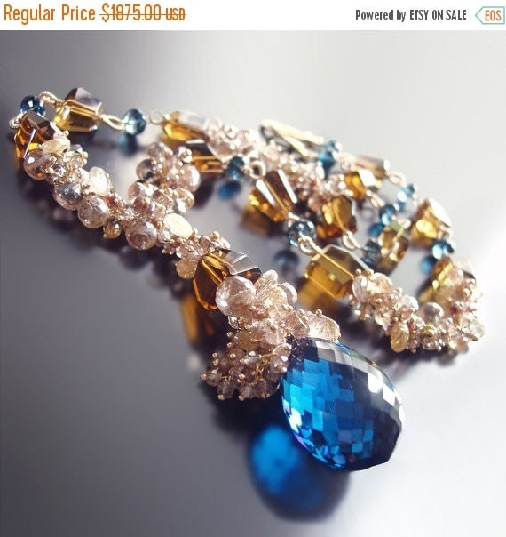 Valentines Day Sale - Custom Made To Order - London Blue Topaz Statement Necklace With Champagne Topaz, Imperial Topaz, Golden Rutilated Qua