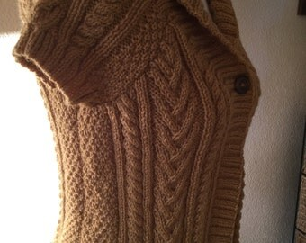 Knit Ladies Waistcoat/ Shawl Collared Butterscotch Short Sleeved Ladies- Women's Aran Waistcoat -Vest - Jerkin- Ready to  Ship - Reduced