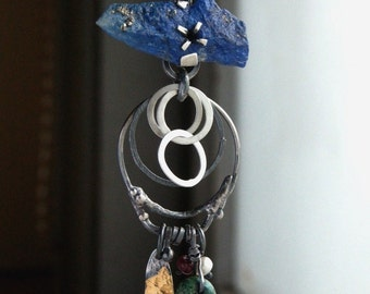 Lapis Turquoise Ruby Pearl Sterling Silver Necklace