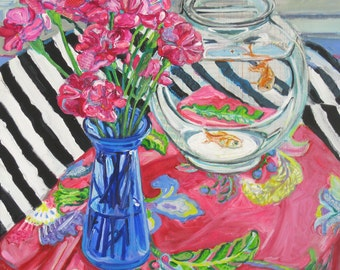 Carnations Forever acrylic mixed media oversized painting by Polly Jones