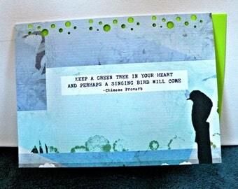 GREEN TREE Elemental Art Card, greeting, stationary, bird,note card, set of 8
