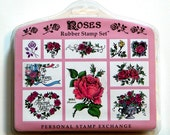 Unused ROSES RUBBER STAMP Set 10 Images Personal Stamp Exchange Flowers Hearts Art Crafts Scrapbook