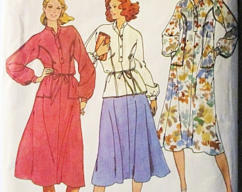 1970s Vintage Sewing Pattern Butterick 6290 Misses Dress, Top & Skirt Pattern Size 10 Bust 32 1/2