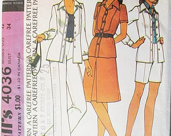 1970s Vintage Sewing Pattern McCalls 4036 Misses Jacket, Skirt & Pants Pattern Size 12 Bust 34