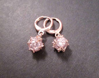 Cubic Zirconia Cluster Earrings, White Rhinestone and Rose Gold Dangle Earrings, FREE Shipping U.S.
