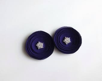Indigo Purple Chiffon Poppies Shoe Clips