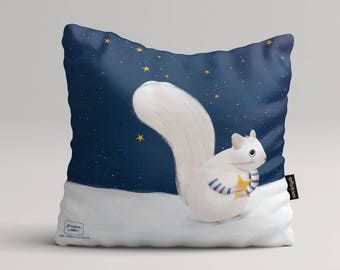 Snow squirrel - Illustrated throw pillow cover