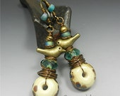 SRA Handmade LAMPWORK EARRINGS glass beads Donna Millard boho tribal aqua turquoise hippie hip primitive bohemian bird wren sparrow