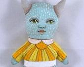 Little Turquoise Monster Original Hand Painted Folk Art Doll Sculpture OOAK