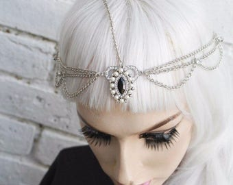 1920s Style Diamante Flapper Head Chain Headband