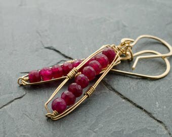 Ruby Quartz Earrings. Faceted Gemstone Rondelle Earrings. Gold Frame Earrings. July Birthstone Jewelry. Birthstone Earrings.