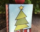 Merry - Christmas tree  painted on wood block