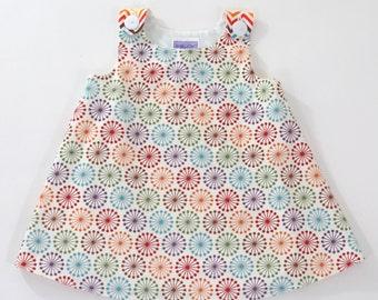 Girls' Dress, Rainbow Pinwheels & Chevron,  Toddler Girls' Dress Size 12 - 18 months, Children's Clothing, Handmade Girls'  Dress, Sundress