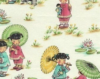 Michael Miller China Doll Fabric - REMNANT Size 31 Inches by 44 Inches