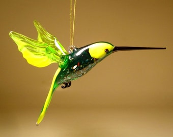 Handmade Blown Glass Figurine Art Bird Yellow and Green Hanging HUMMINGBIRD Ornament