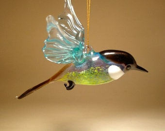 Handmade Blown Glass Figurine Art Brown Hanging Bird CHICKADEE Ornament