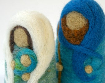 Baby Jesus, Mary and Joseph Felted Wool Nativity Set for Play and Display: The Holy Family