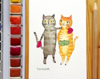 ORIGINAL cat folk art CATS in Mittens watercolor painting one of a kind by Canadian Artist TASCHA