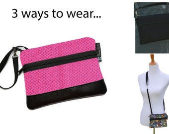 Cell Phone Purse - Fanny Pack or Wristlet - Cell phone Cross body Bag - Small Cross body Purse - Long Zip Bag- Jacks Fabric