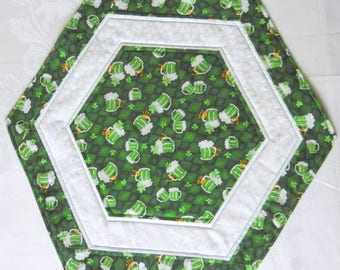 Quilted, Reversible Candle Mat, Table Topper, Centerpiece, St. Patrick's Day, Mugs of Beer/Shamrocks/Celtic Medallion, Handmade Table Linens