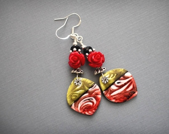 Flamenco. Lovely red black dangle earrings. Colorful Polymer clay drops, silver plated findings.