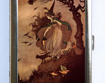 Halloween Witch Cigarette Cigarette Case id case Wallet Business Card Holder