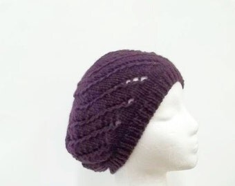 Purple beanie hat with eyelets hand knitted      5279
