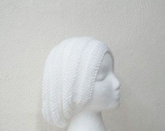 White hand knitted slouchy beanie hat  5300