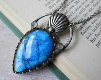 Aphrodite of the Waves - Blue Labradorite and Seashell Talisman Necklace
