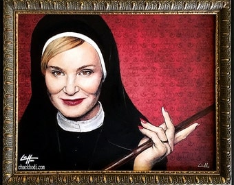 Sister Jude - Original Drawing - American Horror Story Asylum Briarcliff Nun Dark Art Jessica Lange Evan Peters Gothic Halloween Lowbrow Pop
