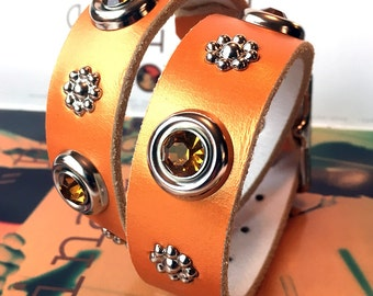 Copper Leather Dog Collar with Silver Flowers and Amber Gems, Size L, to fit a 18-21 Neck, Large Dog Big Dog, Eco Friendly, Made in USA