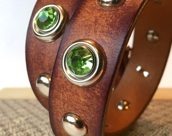 Rustic Milk Chocolate Leather Dog Collar with Mint Sparkles and Studs, Size M-L, to fit a 16-19in Neck, Seattle Handmade Greenbelts, OOAK