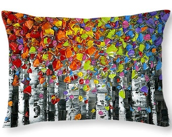 decorative pillows birch trees