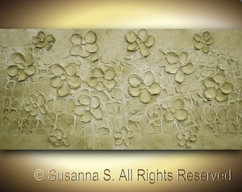 ORIGINAL Abstract Bas relief contemporary Fine Art Flowers Sculpture Textured Palette Knife Painting by Susanna 48x24