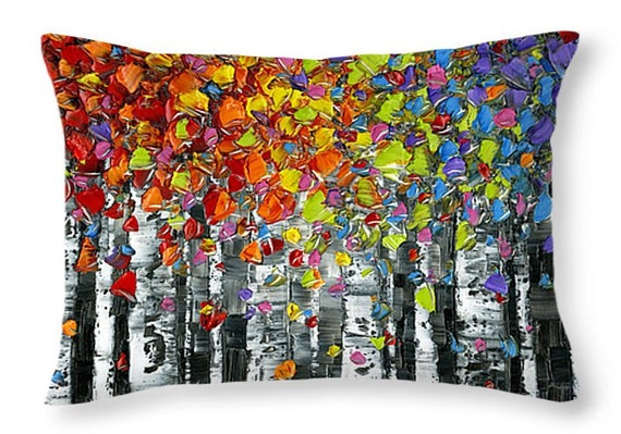 decorative pillows birch trees