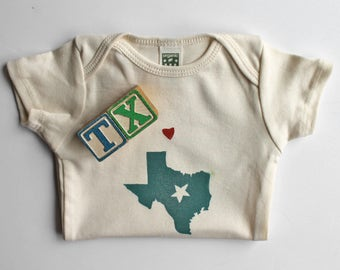 Texas Organic cotton short sleeve onesie, Love from Texas, Texas State pride