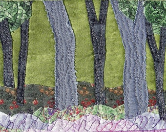 Forest Landscape Small Quilt Quilt Art Fabric Art Wall Art Quilted Postcard Textile Art Landscape Art Nature Postcard Fabric Art Mom Gift