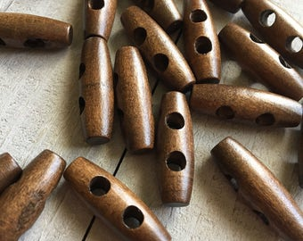 "Wooden Toggle Buttons (B25) TEN 1 1/4"" Toggle Dark Wood for Knitting Crochet Sewing Coats Sweaters Sewing Buttons Craft Supplies"