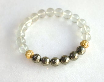 Little Luxe Simple Stacking Stretch Bracelet in Prasiolite, Pyrite, Gold Vermeil...
