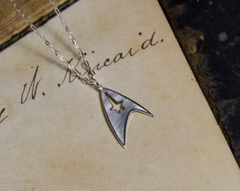 Starfleet Insignia Hand Cut Sterling Silver Star Trek Necklace